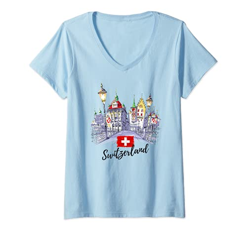 Mujer Switzerland Graphic Tees - Novelty T-Shirts & Cool Designs Camiseta Cuello V