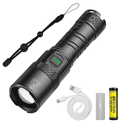 Torcia LED Potente Professionale, Torcia Ricaricabile USB Super Luminosa 10000 Lumen, XHP90 Torcia Zoomabile 5 Modalità per Esterni, Emergenza (Batteria Inclusa)