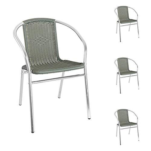 Mojawo Qualität 4 Stück Aluminium/Polyrattan Bistrostuhl stapelbar Stapelstuhl Campingstuhl Gartenstuhl...