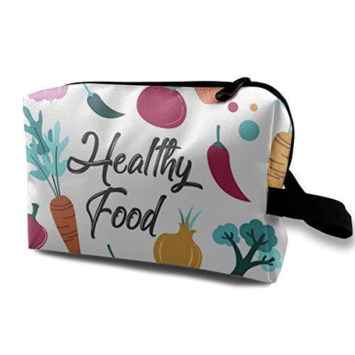 zmzm Organizador de Bolsas de cosméticosHealthy Food Cosmetic Bag Makeup Bags For Women Travel Makeup Bags Roomy Toiletry Bag Accessories Organizer with Zipper
