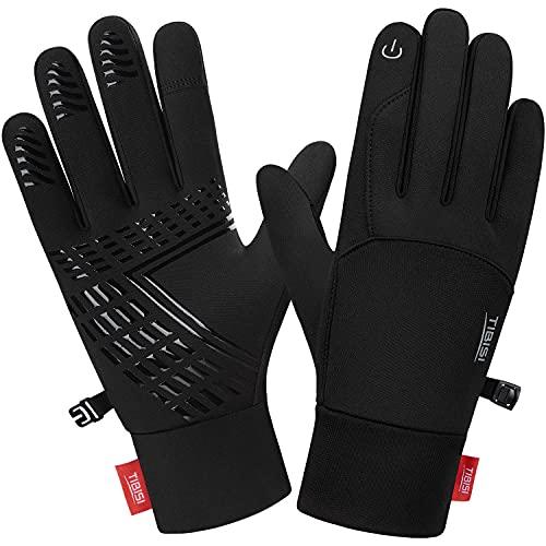 Handschuhe Herren Damen Touchscreen Laufhandschuhe Sporthandschuhe rutschfest Winter Warme Handschuhe Fahrradhandschuhe Outdoor Camping Wandern Bergsteigen Radfahren, ST01-Schwarz L