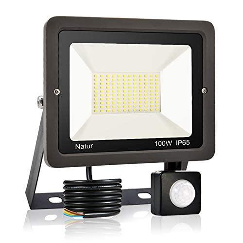 100W LED Foco Exterior con Sensor Movimiento, bapro Proyector LED Impermeable IP65 Floodlight LED Foco Blanco Cálido 3000K Exterior Iluminación para Patio, Almacén, Camino, Jardín