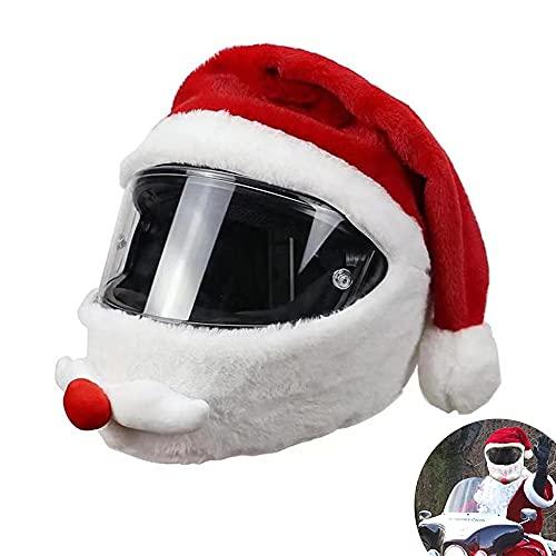 Funda para Casco de Motocicleta Papá Noel, Funda para Casco de Moto mullida, Divertida Funda para Casco Completo, Funda para Casco Divertido tamaño Universal, Gorro de Navidad(Cascos integrales)