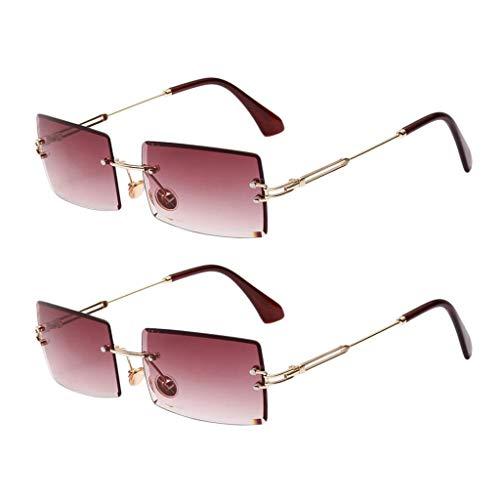 Amuzocity 2X Gafas de Sol Sin Montura de Moda para Mujer, Montura Metálica, Lentes Tintadas, Gafas UV 400, Púrpura