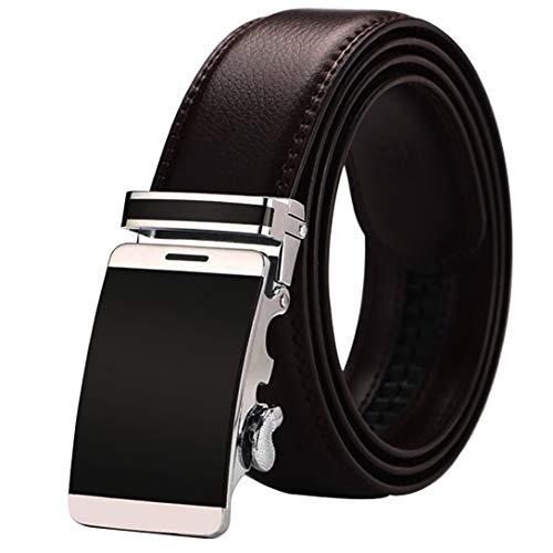 DU Cinturón Hombre Cuero Real 40~62 Pulgadas Cinturón Trinquete Moderno Marrón Oscuro Negro Hebilla Cinturón Automático Modelo Teléfono Móvil 3D Cinturón (Marrón,115 cm)