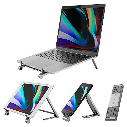 VAYDEER tragbarer Laptopständer, 3 in 1 Magic Verstellbarer Laptop Riser Halter Ständer, Faltbarer Computerständer aus Aluminium für MacBook Air Pro/Tablet/iPad/Telefon/Mehr 10-17