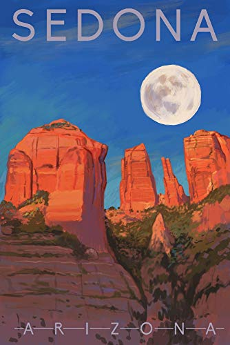 Sedona, Arizona, Cathedral Rock, Moon, Oil Painting (12x18 Art Print, Wall Decor Travel Poster)