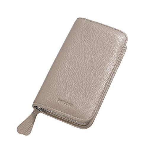Pericosa Damen Kosmetiktasche KATIE klein aus Leder in taupe mit Fächern für Damen | für unterwegs für die Handtasche | Luxus Schminktasche für Make up | Kosmetiktäschchen Kosmetikbeutel in chic beige