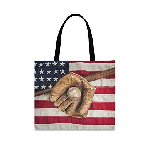 DOSHINE Einkaufstasche aus Segeltuch, US-Flagge, Baseball, wiederverwendbar, Einkaufstasche, Schulranzen für Damen, Mädchen