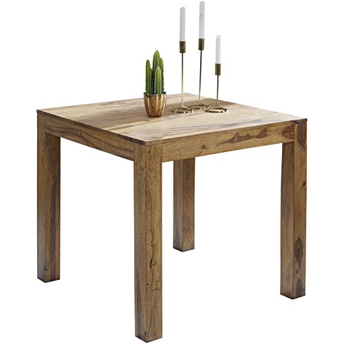 Wohnling wl1.319 carré en Bois Massif Sheesham Table à Manger 80 x 80 cm