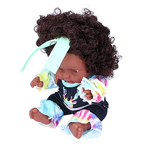 Muñecas de niña africana, muñeca de niña negra, muñeca de juego para bebés, encantadora muñeca negra de imitación para niños y niñas para regalo de cumpleaños(Antílope teñido anudado Q8-048C)