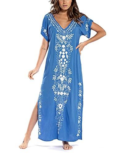 JENJON Mujeres Vestido de Playa Kaftan Floral Bordado Bohemia Tamaño Largo Cover Ups para Bikini A-Azul-2 Talla única