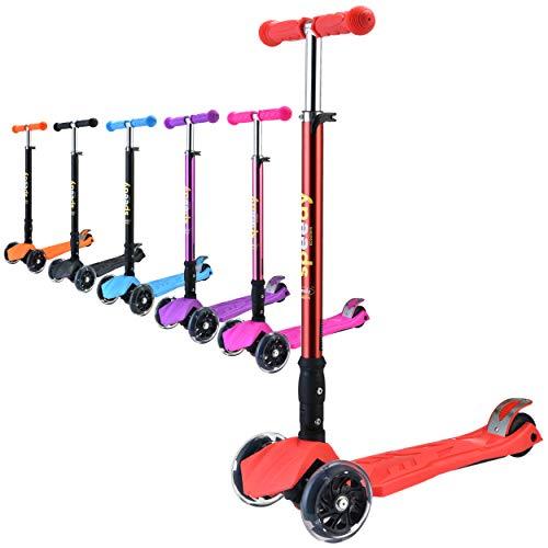 Speedy Scooters® Doblo LED Patinete de 3 Ruedas Luminosas LED - Plegable, Manillar Altura Ajustable y Freno Posterior para Niños, Inclinable Fácil de Girar (Rojo)