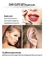 8 Pairs Stainless Steel Ear Cuff Non Piercing Clip on Cartilage Earrings for Men Women (Steel C + Flower Shape Style) #5