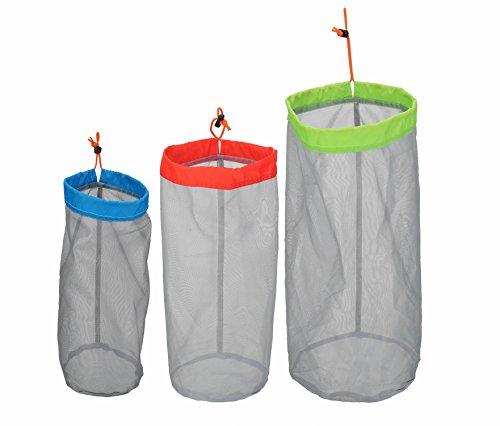 Stuff Sack Set of 3 Lightweight Nylon Mesh Drawstring Storage Bag for Travelling Hiking