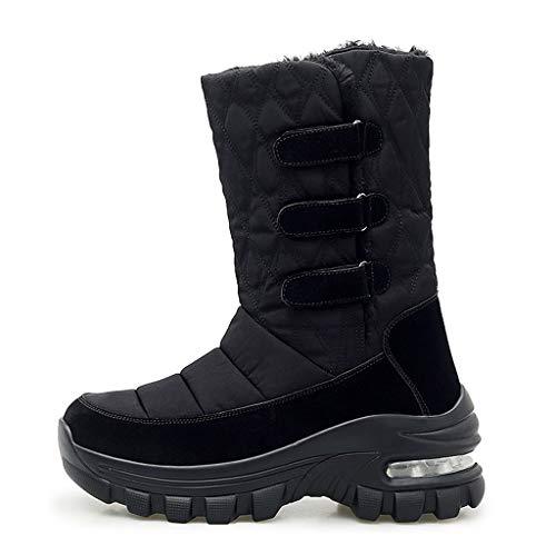 WUSIKY Geschenk für Frauen Stiefeletten Damen Bootsschuhe Boots Stiefel wasserdichte Winterschuhe Schneeschuhe Plattform Warme Stiefeletten (Schwarz, 36 EU)