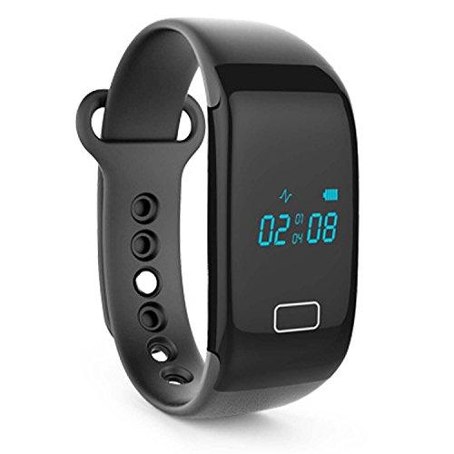 jw018Bluetooth 4.0Smart Armband Sports Activity Fitness Tracker Armband Uhr mit Herzfrequenz Monitor Schrittzähler Schlaf Monitor für iPhone 5S 6Plus HTC One M8Sony Z3Huawei Samsung Galaxy Note 5, schwarz
