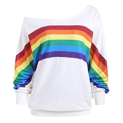 Damen Lose Rainbow Off Shoulder Pullover TWIFER Bluse Sweatshirt Langarm Shirts