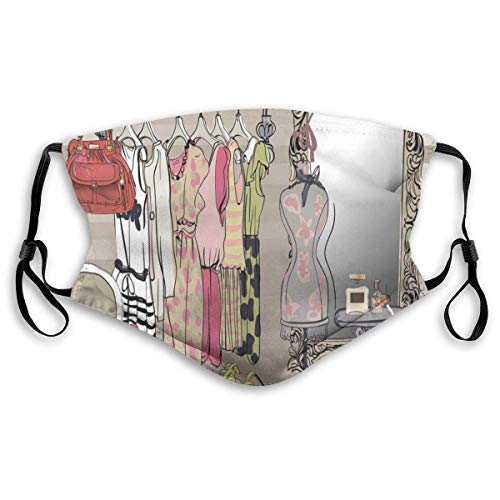 YYTT8 Gesichtsabdeckung Mundschutz Frauen Kleiderschrank Illustration Buntes Retro-Interieur mit stilvollen Kleidern