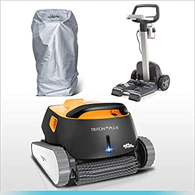 DOLPHIN Triton PS Plus Automatic Pool Cleaner Bundle with Convenient Caddy and Caddy Cover, Ideal for In-ground Swimming Pools up to 50 Feet.