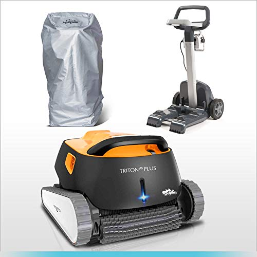 Best Deals! DOLPHIN Triton PS Plus Automatic Pool Cleaner Bundle with Convenient Caddy and Caddy Cov...