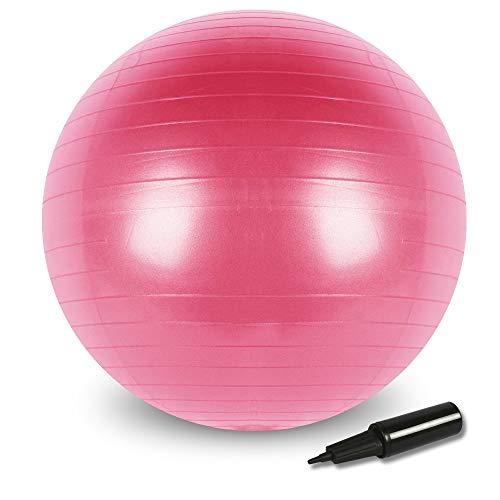 Best Goods – Pelota de gimnasia gruesa antipinchazos, incluye bomba de pelota, balón de pilates, yoga, fitness, pequeños aparatos y silla de equilibrio en gimnasio oficina (rosa, 65 cm)