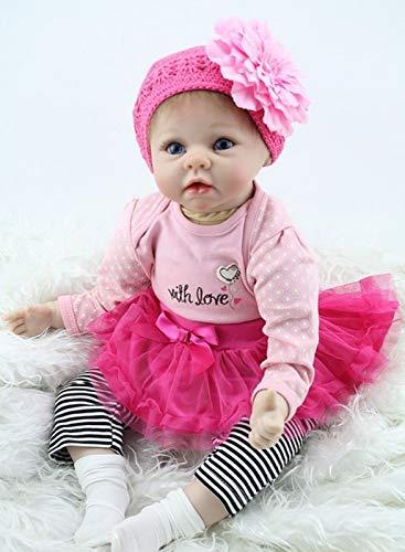ZIYIUI 22 Pulgadas 55 cm Muñeca Reborn Bebé Niña Silicona Suave Niña de Ojos Azules Muñecos Vida Real Natural Regalos de Cumpleanos Reborn Dolls Juguetes de los Niños