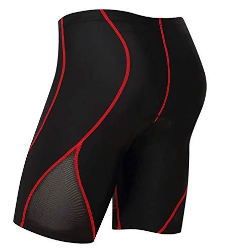 logas, pantaloncini per il ciclismo, da uomo, con imbottitura 3D, a mezza gamba, traspiranti, abbigliamento sportivo, rosso, XL