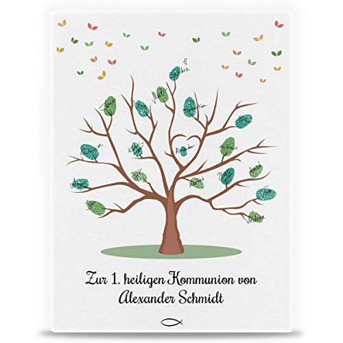 GRAVURZEILE Personalisierte Leinwand zur Kommunion als Gästebuch - Fingerabdruck der Gäste -...