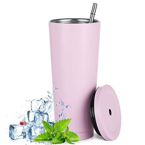 500 ml Edelstahl-Reisebecher mit Strohhalm und auslaufsicherem Deckel, umweltfreundlich, wiederverwendbar, Kaffeebecher, Bierbecher, vakuumisolierter Becher für eiskalte oder warme Getränke