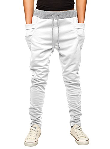 HEMOON Mens Jogging Pants Tracksuit Bottoms Training Running Trousers White S