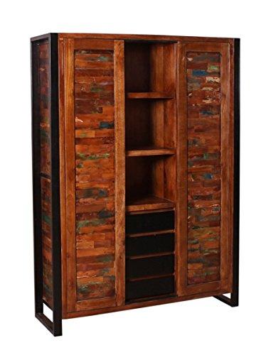 Sit Möbel MOX Mehrzweckschrank (4 Schubladen und 2 Türen), Altholz, Bunt Lackiert, 130 x 40 x 180 cm