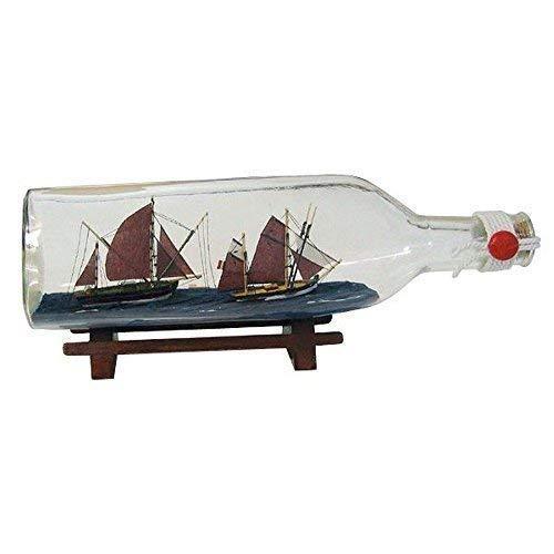 Buddelschiff, Dreikant Flasche Zwei Thunfischfänger, Flaschenschiff 29 cm