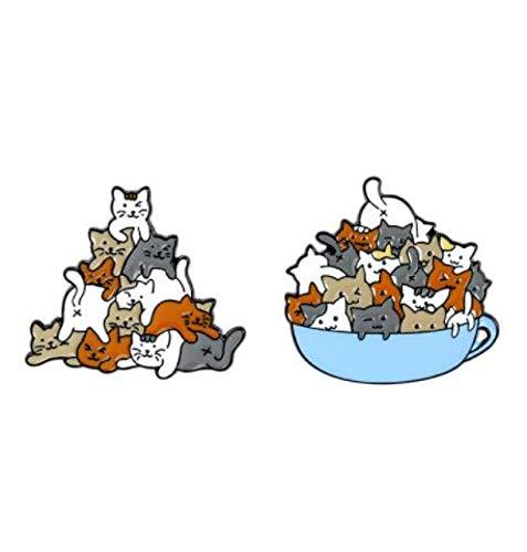 wangk Eine Tasse Katzen Pin Katze Kaffeetasse Becher Broschen Tasche Anstecknadel Cartoon Tier Kätzchen Abzeichen Schmuck Geschenk für Kinder Freunde Set