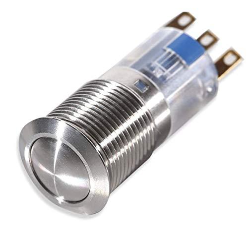Druck-Schalter aus Edelstahl (rund) - Einbau-Durchmesser: 16 mm - Schaltleistung: 3 Ampere 250 Volt