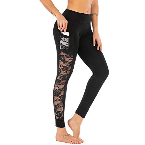 FRAUIT Sexy Leggings Damen Spitze Hosen Yoga Pants Frauen Mädchen Patchwork Sport Casual Hosen Mesh Belichtung Dicht, elastisch Bequem Yogahosen Fitnesshose mit Taschen (M, Schwarz10)