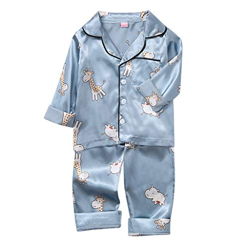 Upxiang - Pijama para niño de dos piezas de manga larga, juego de pijamas para niños y niñas, top + pantalones cortos para dormir en casa, ropa de regalo de cumpleaños para 1 – 6 años 01-azul 2 años