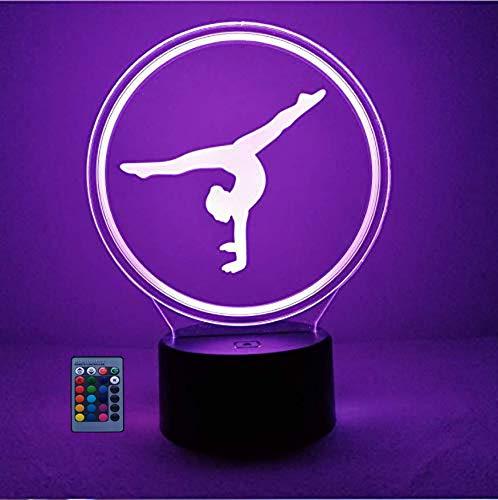 Creativo 3D Gimnasia Luz Nocturna ilusión Optica Lámpara 7/16 Colores Cambiantes Control Remoto USB Power Juguetes Decoración Navidad Cumpleaños Regalo