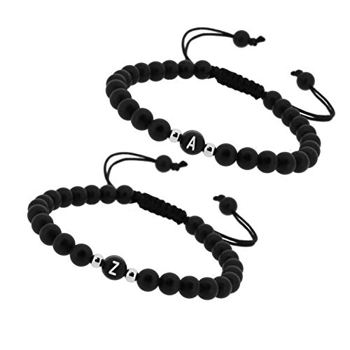 Just4Trend Zwei Personalisierte Namensarmbänder | Partnerarmbänder echte Edelsteine Onyx | Perlenarmband | individueller Schmuck A-Z, Freundschaftsarmband Variation #2