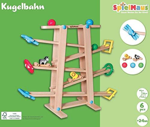 wow SpielMaus Holz Kugelbahn mit Rollelementen