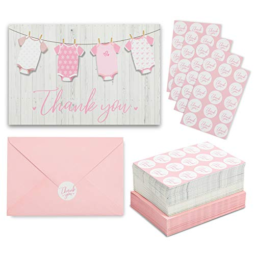 Girl Baby Shower Thank You Cards, Envelopes, Stickers (6 x 4 In, 60 Pack)