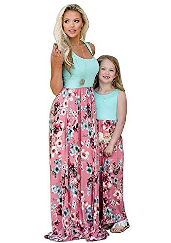 Yming Mutter und Tochter Blumenkleid Spleißen Sommerkleid Prinzessin Partykleid Ärmellose Kleider Blau Blumen 1-2 Jahre