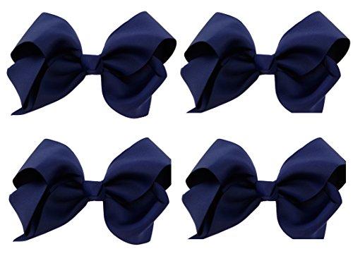 Grosgrain Hair Bows with XL Alligator Clip Set of 4 (Navy Blue Set)