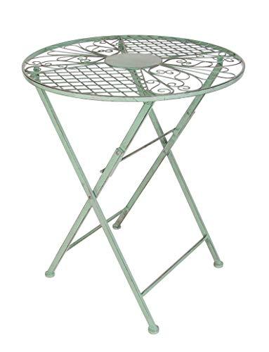 Spetebo Metall Klapptisch in antik grün - 71x60 cm - Garten Bistro Tisch Balkontisch Beistelltisch rund