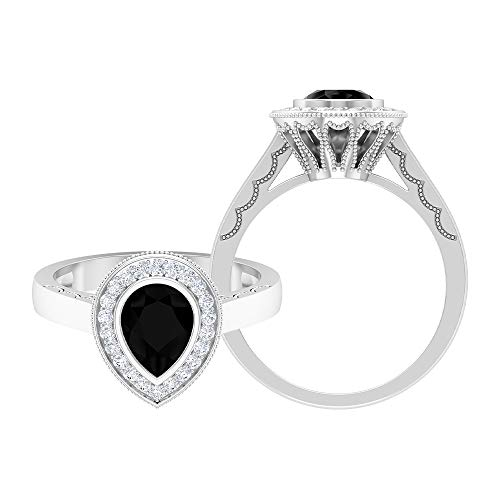 1.07 CT Lab Created Black Diamond Ring, D-VSSI Moissanite Halo Ring, 6X8 MM Pear Shaped Engagement Ring, Gold Crown Ring For Women, 14K White Gold, Size:UK N