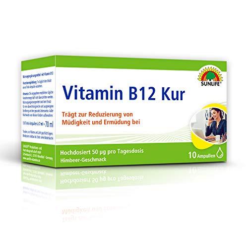SUNLIFE VITAMIN B12 Kur: hochdosiert gegen Müdigkeit & Erschöpfung erhöht geistige Leistungsfähigkeit, 10 Ampullen à 7ml