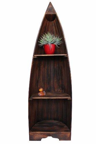 Naturesco Exotisches Bootsregal Regal Boot massiv Holz braun Dunkelbraun 145cm