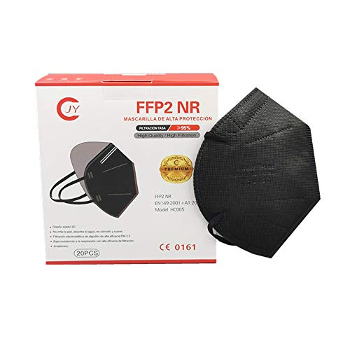 Eurekaled 20 pezzi mascherine FFP2 Nere certificate CE 0161 a 5 strati con BFE 95% singolarmente imbustate