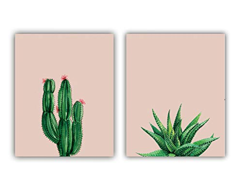 """Watercolor Green Succulent Cactus Aloe Art Print Inspirational Quote Modern Art Painting Set of 2 (8""""X10"""" Canvas Picture),Pink Background Wall Art Poster for Bedroom or Office, No Frame"""