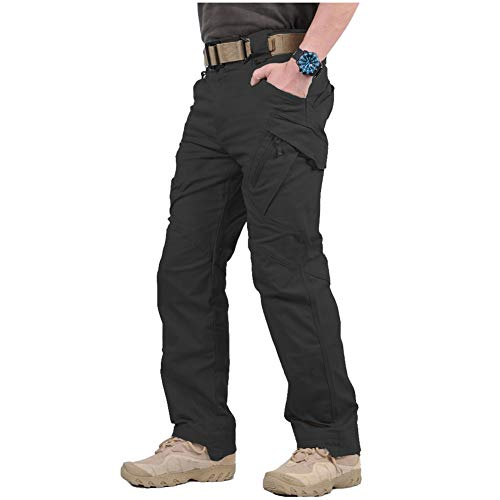 CARWORNIC Gear Men's Assault Tactical Pants Lightweight Cotton Outdoor Military Combat Cargo Trousers Black